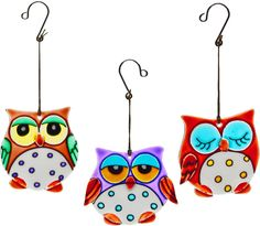 Pack of 3 Spotted owl suncatcher made from thick painted glass in Home, Furniture & DIY, Home Decor, Wall Hangings | eBay