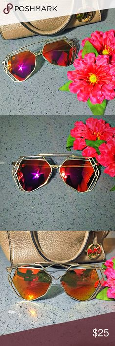 Gold Hexagon Aviators Mirrored Lens Sunnies ⭐️⭐️⭐️TOP RATED SELLER⭐️⭐️⭐️ Gold Frame Metal Hexagon Geometric Aviator Sunglasses with Fire Red/Orange Mirrored Lens. Fashion personality design, a popular item. Light weight for superior comfort,perfect for both performance use or personal use. Provides UV 400 protection, which blocks all UVA and UVB light rays.  Frame Size Lens Width  - 2.25 inches (57mm) Frame Height - 2.25 inches (57mm) Bridge Width - 1 inch (25mm) Arm Length -  5.5 inches…