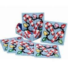 Light Up the Night Candy Cane Coasters Plastic Canvas Kit The combination of an easy Christmas craft and the need for coasters, makes these pretty candy canes and lights coaster plastic canvas kits very popular. Plastic Canvas Coasters, Plastic Canvas Ornaments, Plastic Canvas Tissue Boxes, Plastic Canvas Crafts, Plastic Canvas Patterns, Plastic Canvas Stitches, Plastic Plastic, Cat Coasters, Making Coasters