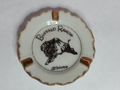 #Buffalo Range Oklahoma collectible ashtray Fine China with gold trim round Japan visit our ebay store at  http://stores.ebay.com/esquirestore