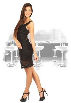 b70e5e7565f  Mojo  Shift  Dress In  Stretch  Black  Lace with 69%
