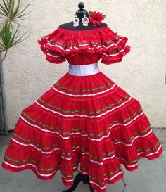 MEXICAN FIESTA,5 DE MAYO,WEDDING TRICOLOR/RED DRESS offSHOULDER w/SMALL SASH 2PC…