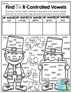 Find the R-Controlled Vowels! TONS of fun, hands-on and effective resources! R Controlled Vowels Activities, Vowel Activities, Vowel Worksheets, 1st Grade Worksheets, Reading Activities, First Grade Phonics, First Grade Reading, Teaching Vowels, Phonics Lessons