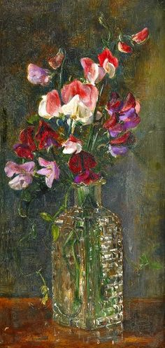 stilllifequickheart: 1907 Anna Munthe Norstedt (Swedish, 1854-1936) ~ Still Life with Sweet Peas