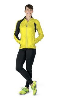 Women's Outfit: Run Happy Hour- Oh yes it's ladies night. Get noticed in the NightLife Jacket, NightLife Equilibrium LS, and Infiniti Tight, shown here in NightLife yellow and black. This run-in-the-dark gear will help you be seen in low-light hours.