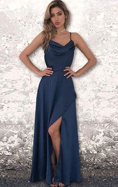 Simple A-Line Spaghetti Straps Backless Floor-Length Chiffon Prom Dress  With Spilt-Side. Prom Gowns ... 3da647d0b719