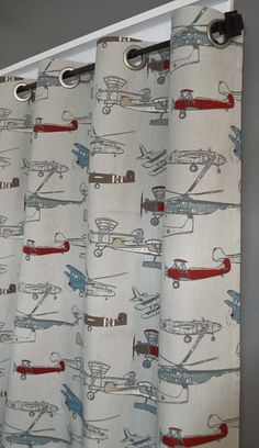 "FREE SHIPPING - Blackout Lined Airplane Grommet Curtains - 2 Panels You Pick the Size- 50"" Wide x 50, 60, 72, 84, 90, 96, 108 or 120"" Long by DesignerPillowShop on Etsy <a href=""https://www.etsy.com/listing/214324391/free-shipping-blackout-lined-airplane"" rel=""nofollow"" target=""_blank"">www.etsy.com/...</a>"