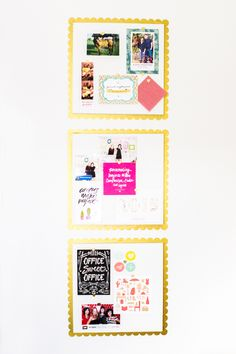 Transform store bought cork boards into something with a bit more glam by adding scalloped edges and painting them white. (Click through for template)
