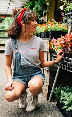 Looking for a fun way to style this super soft striped and embroidered Choose Joy t-shirt? Pull on your overall shorts for an instant classic look! Paired with a red bandana in your hair and a pair of white sneakers, this outfit will easily be one of your favorites!
