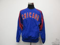 Stitches Chicago Cubs Light Pullover Windbreaker Jacket sz M Medium SEWN Wrigley #Stitches #ChicagoCubs #Tcpkickz