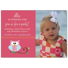 Owl Girl Photo Birthday Invitations