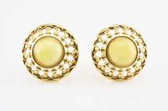 White Natural Untreated Baltic Amber Silver Gold Plated Round Stud Earrings