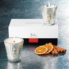 Winter Antiqued Votive Candles - Set of 2 from The White Company