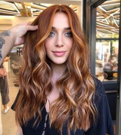 Red Balayage Hair, Red Blonde Hair, Ginger Hair Color, Hair Color And Cut, Brown Hair To Ginger, Hair Color Auburn, Hair Color Highlights, Natural Red Hair, Dye My Hair
