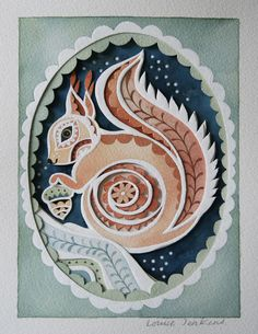 "Gift-Wall Art-Made To Order-Paper Cut & Watercolour ""Harvest Squirrel"" Artwork £55.00"