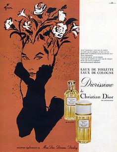Christian Dior (Perfumes) 1967 René Gruau, Diorissimo. Mom used to let me spray some on my stuffed toys.