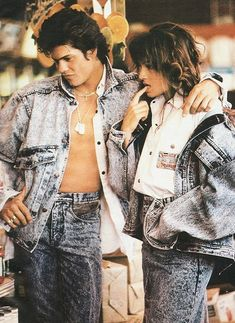 80s acid wash denim jeans and jacket at VintageDancer 1980s Mens Fashion, 1980s Fashion Trends, 80s Style Outfits, Fashion Outfits, Men's Fashion, Knit Shirt, Mens Clothing Styles, Sport Coat, Guys
