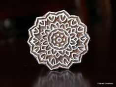"""Hand Carved Indian Wood Textile Stamp Block- Round Floral Motif. 2.25"""""""