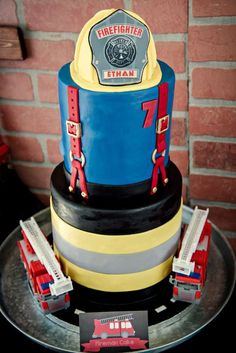 's Birthday / Fireman - Photo Gallery at Catch My Party Firefighter Birthday Cakes, Fireman Birthday, Fireman Party, 4th Birthday Cakes, Boy Birthday Parties, Firefighter Wedding, Fire Cupcakes, Fire Cake, Fire Fighter Cake