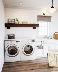 Design a comforting laundry room for getting chores done. Install rustic touches, like a thick lumber shelf and shiplap wall that goes up faster than you might think. Lay variegated flooring to ground the space. House the machines for extra folding space. Modern Laundry Rooms, Farmhouse Laundry Room, Farmhouse Kitchen Decor, Farmhouse Furniture, Modern Farmhouse, Farmhouse Sinks, Farmhouse Design, Laundry Room Remodel, Laundry Room Cabinets