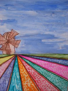 dutch tulip field- one point perspective, grade 6