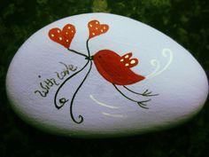 """Galet peint """" Valentine bird"""""""