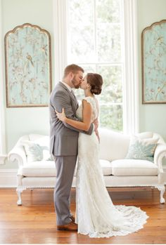 Merrimon Wynne House Wedding - Bride and Groom Kiss Pose - Three Little Birds Studio Photography - NC Wedding Planner Orangerie Events