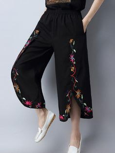 Vintage Embroidery Women Slit Wide Leg Pants is necessary for cold weather, NewChic will show cheap trendy women Pants & Capris for you. Salwar Designs, Embroidery Fashion, Vintage Embroidery, Floral Embroidery, Fashion Pants, Fashion Outfits, Dress Indian Style, Pants For Women, Clothes For Women