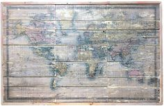 World Map on Reclaimed Wood Large