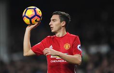 Matteo Darmian of Manchester United takes a thrown in during the Premier League match between Everton and Manchester United at Goodison Park on December 4, 2016 in Liverpool, England.