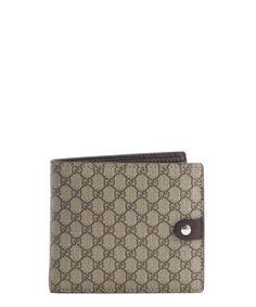 Gucci beige GG print coated canvas bi-fold wallet