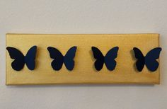 3D Handmade Navy Butterflies on Gold Painted by LarlenDesigns