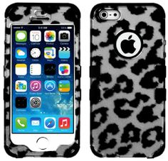 """myLife (TM) Black - Gray and Black Leopard Spots Series (Neo Hypergrip Flex Gel) 3 Piece Case for iPhone 5/5S (5G) 5th Generation iTouch Smartphone by Apple (External 2 Piece Fitted On Hard Rubberized Plates + Internal Soft Silicone Easy Grip Bumper Gel + Lifetime Warranty + Sealed Inside myLife Authorized Packaging) """"Attention: This case comes grip easy smooth silicone that slides in to your pocket easily yet won't slip out of your hand"""" - http://www.mormonslike.com/mylife-t"""