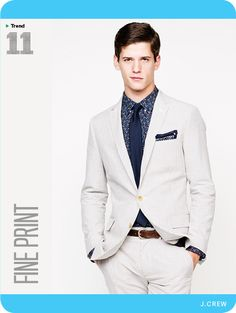 GQ's Spring Trend Report 2014. A well-done high contrast between the suit and the shirt and tie.