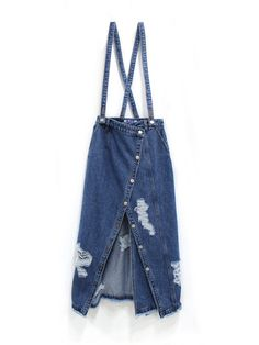 W CONCEPT : W컨셉 - [SJYP:에스제이와이피] Destroyed denim wrap long sk (with suspender) / 디스트로이드 데님 랩 롱 스커트 Skirt Fashion, Denim Fashion, Womens Fashion, Textiles, Jean Apron, Denim Crafts, Fashion Details, Fashion Design, Apron Designs