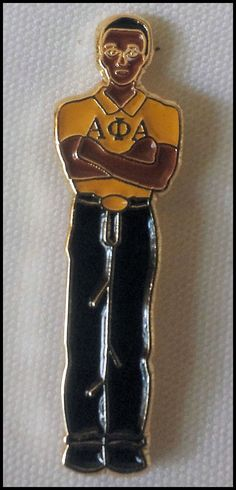 Alpha Phi Alpha Fraternity Stepper Lapel Pin. Pins are die struck with vivid enamel colors. Butterfly clutch back. Pin is approximately 1.50 in.