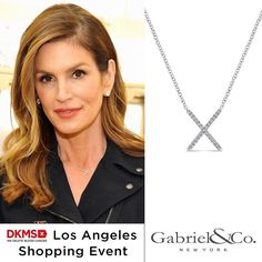 """Brand ambassador for #DKMS @cindycrawford showed her support at the special @jimmychoo and @DKMS_US shopping event in L.A.  Cindy wore our exclusive """"X"""" necklace, where 5% of the proceeds from each sale will go to DKMS to help register potential bone marrow donors. #DKMS #deletebloodcancer #cindycrawford #gabrielny (Style #: NK4941W45JJ)."""