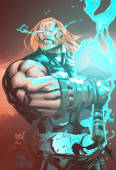 Thor by Joe Madureira, inked by Ben Jonesar, coloured by Jasen Smith *
