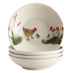 Paula Deen 'Southern Rooster' Print 4-Piece Stoneware Fruit Bowl Set