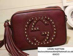 c5a5af74024 Gucci Soho Studded Leather Disco Small Bag 308364 Burgundy Gucci Soho Bag