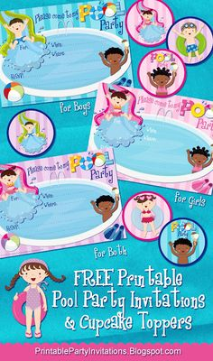 free printable pool party invites