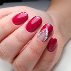 Valentine's Day red nails with rhinestone 💕 Rhinestone Nails, Short Nails, Red Nails, Rhinestones, Valentines Day, Nail Designs, Collections, Beautiful, Red Toenails