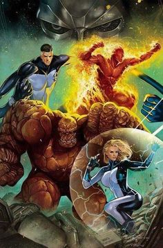 Thing Human Torch Invisible Woman Mister Fantastic and Dr. Doom - Fantastic Four by Mirco Pierfederici Comic Book Characters, Comic Book Heroes, Marvel Characters, Comic Character, Comic Books Art, Comic Art, Arte Dc Comics, Marvel Comics Art, Marvel Heroes