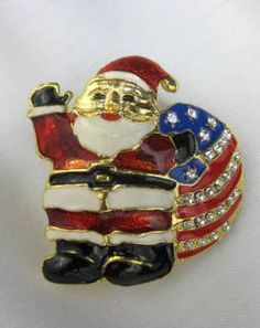 SOLD! Patriotic Santa Clause Dauplaise Christmas Pin