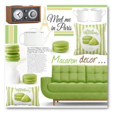 """Macaron decor"" by pokadoll ❤ liked on Polyvore featuring interior, interiors, interior design, home, home decor, interior decorating, Joybird Furniture, Kate Spade, Bela and WallPops"