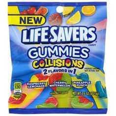 Enjoy a collision of lifesaver flavors in a chewy candy. These bags of Lifesavers® Gummies are perfect for gifts and each pack contains an assortment of cherry-watermelon, raspberry-lemonade, and Watermelon Punch, Pineapple Punch, Life Saver Gummies, Homemade Ravioli Dough, Funyuns Recipe, Lifesaver Candy, Junk Food Snacks, Chewy Candy, Sour Patch Kids