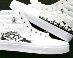 1d5aa6be8ee476 Disney s Peter Pan silhouette themed hi top vans ARTWORK and SHOES INCLUDED  Hi Top Vans