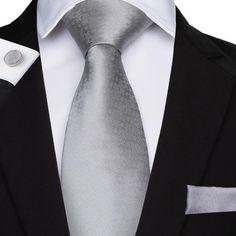 Men's Gray Geometric Tie Pocket Square Cufflinks Set