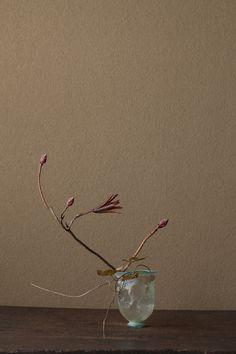 2012年3月20日(火)    つぼみと枝の表情が春です。   花=黄羊躑躅(キレンゲツツジ)、青葛藤(アオツヅラフジ)   器=ローマングラス碗(ローマ時代)