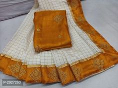 Orange Art Silk Checked Saree With Blouse by Sourgrape's Online - Online shopping for Sarees on MyShopPrime -